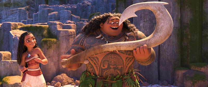Vaiana et Maui avec son hameçon magique