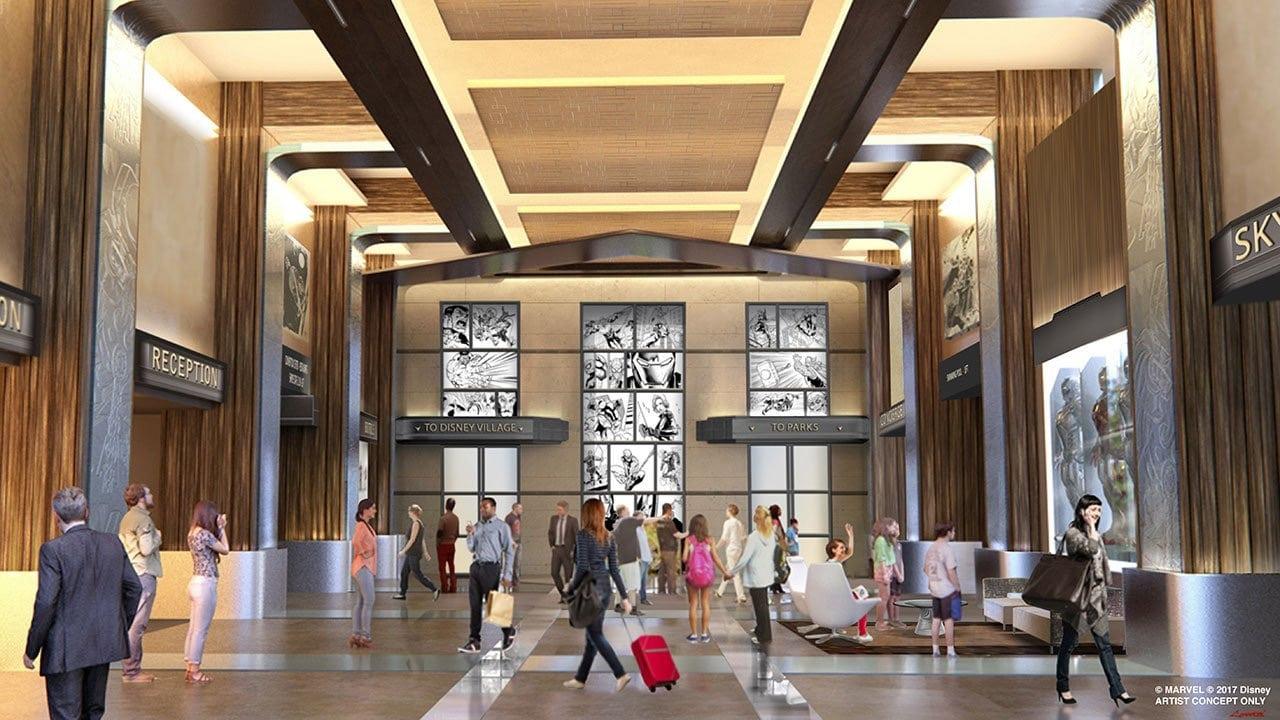 Concept du hall de The Art of Marvel Hotel à Disneyland Paris