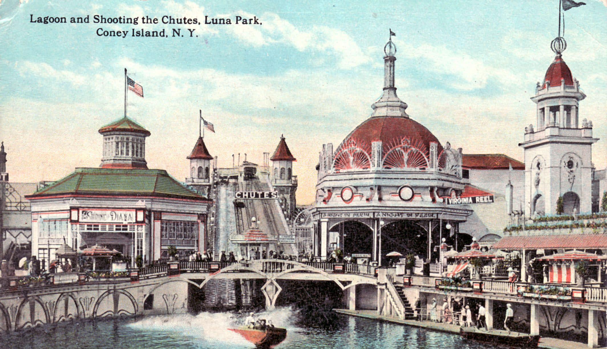 Lagoon and Shooting the Chutes, Luna Park, Coney Island, New York