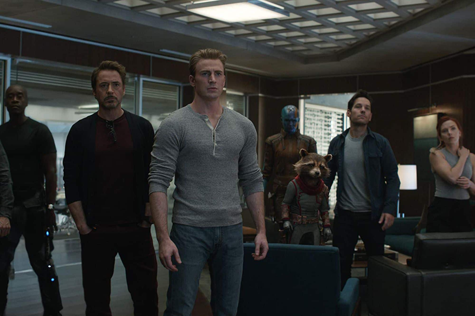 Avengers : Endgame : Iron Patriot, Iron Man, Captain America, Nebula, Rocket Racoon, Ant-Man, Black Widow