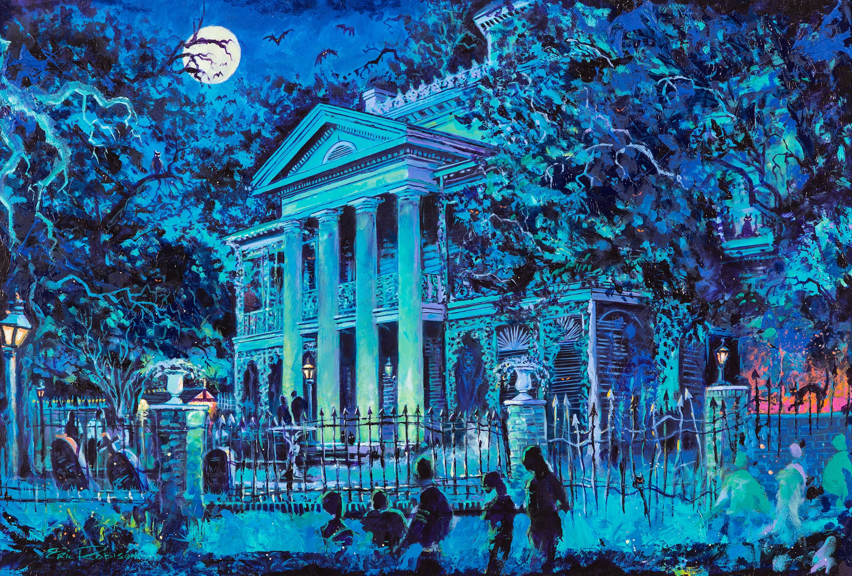 Peinture originale de Haunted Mansion de Eric Robinson, 1999